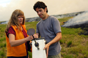 Jorge Jimenez and Candis Claiborn measuring particulates during a field burn